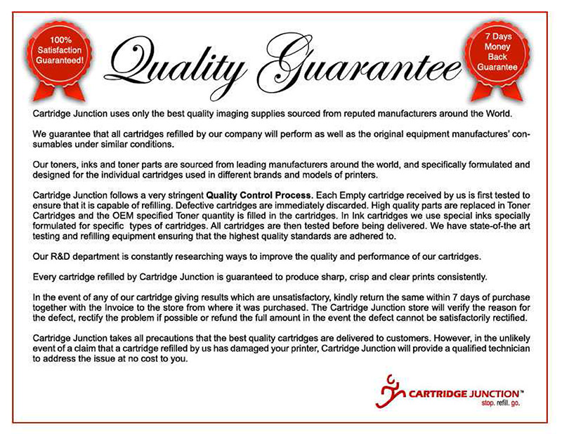 Cartridge Junction Guarantee Certificate